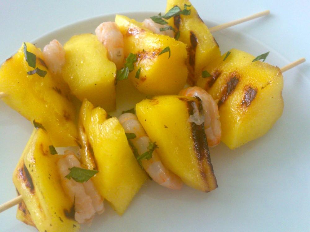 Spiedini gamberi e mango