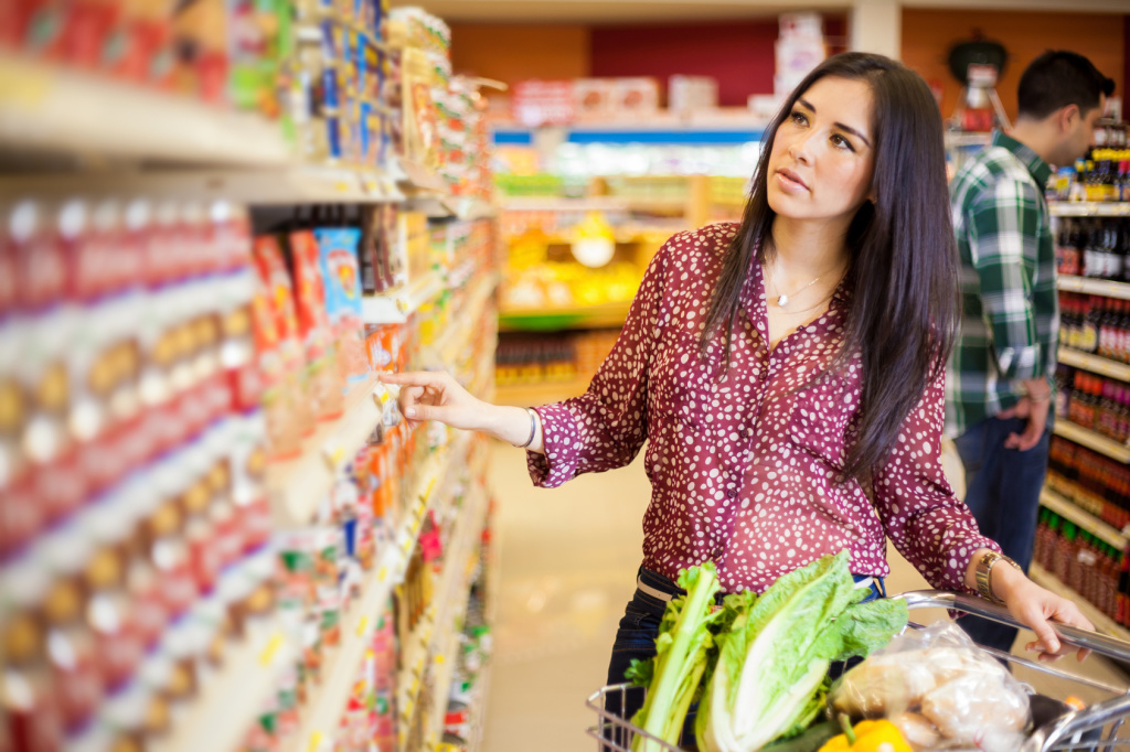 Buying food at the supermarket