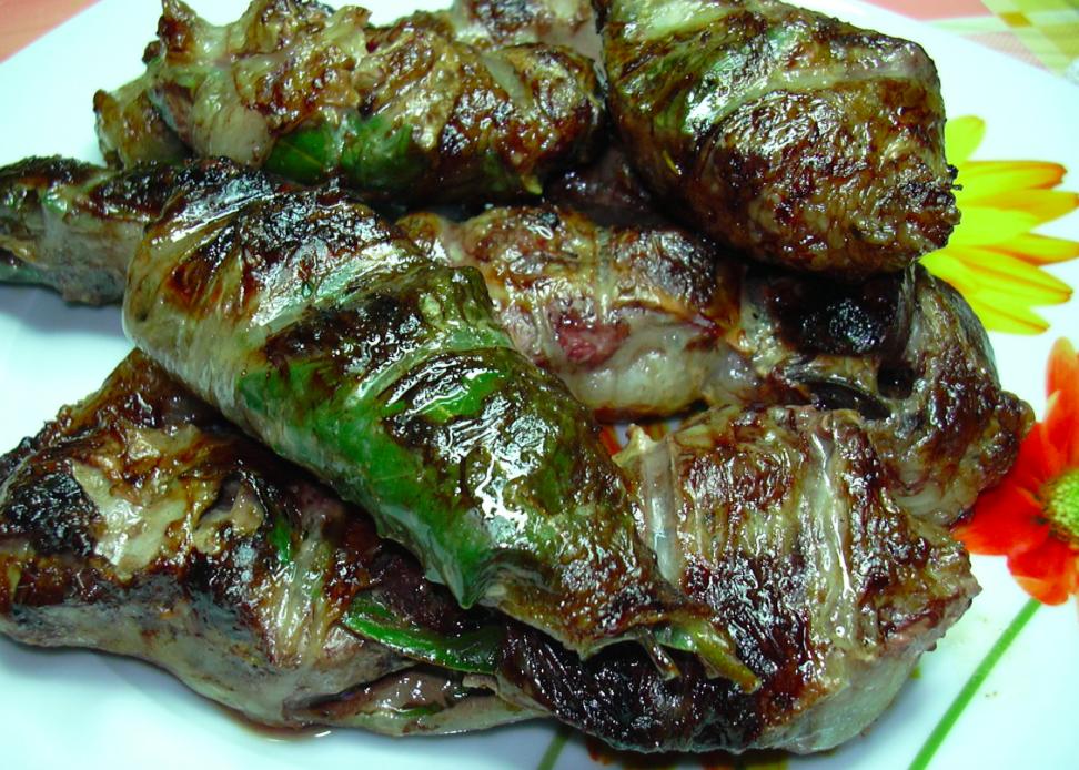 Fegatelli di maiale alla brace - variante con foglia di alloro