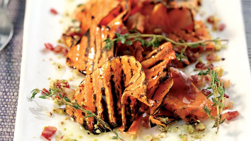 zucca pancetta e pistacchi