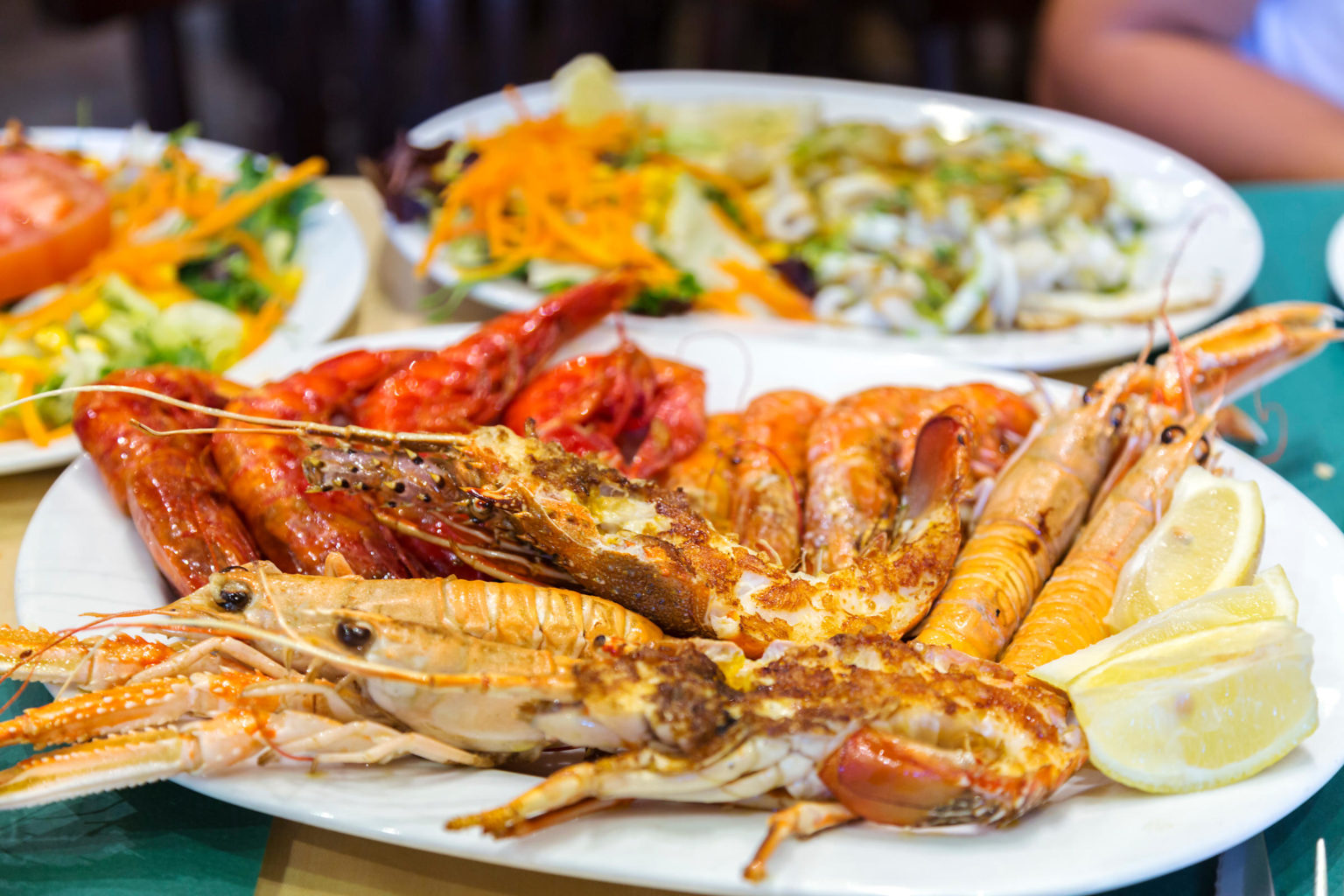 Spain, Madrid. Mixed grilled seafood