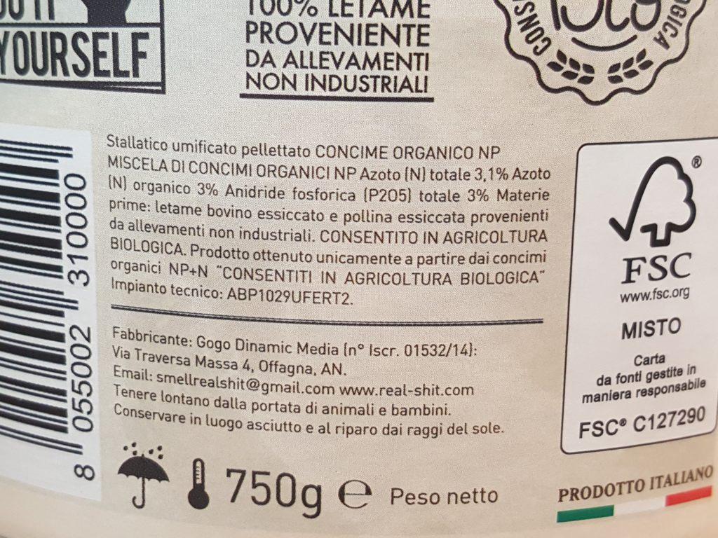 real shit etichetta componenti